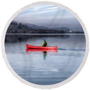 Red Canoe Round Beach Towel by Adrian Evans