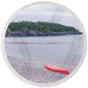 Red Canoe And Woman In Green Dress Round Beach Towel