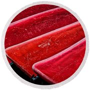 Red Canoes Round Beach Towel