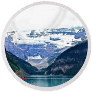 Red Canoes Turquoise Water Round Beach Towel