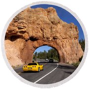 Red Canyon Near Bryce Canyon In Utah Round Beach Towel