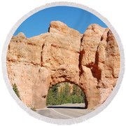 Red Canyon Tunnel Round Beach Towel
