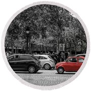 Red Car In Paris Round Beach Towel
