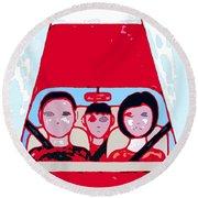 Red Car Round Beach Towel
