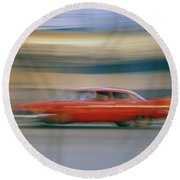 The Red Car Round Beach Towel