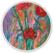 Red Carnation Melody Round Beach Towel