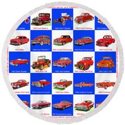 Red Cars Of America Round Beach Towel