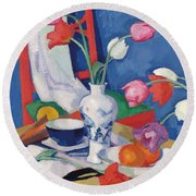 Red Chair And Tulips, C.1919 Round Beach Towel