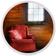 Red Chair In Panelled Room Round Beach Towel