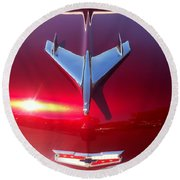 Red Chevy Car Hood  Round Beach Towel