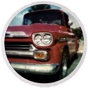 Red Chevy Pickup Round Beach Towel