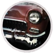 Red Chevy Round Beach Towel