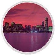 Red Chicago Sunset Round Beach Towel