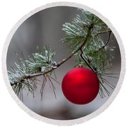 Red Christmas Ball Branch Round Beach Towel