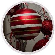 Red Christmas Balls Round Beach Towel