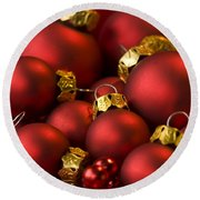 Red Christmas Baubles Round Beach Towel by Anne Gilbert