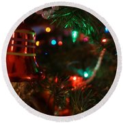 Red Christmas Bell Round Beach Towel