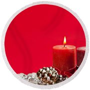 Red Christmas Candles Round Beach Towel by Elena Elisseeva