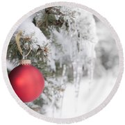 Red Christmas Ornament On Icy Tree Round Beach Towel
