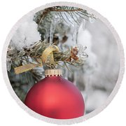Red Christmas Ornament On Snowy Tree Round Beach Towel