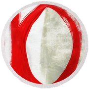 Red Circle 5- Abstract Painting Round Beach Towel