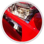 Red Classic Car Engine 2 Round Beach Towel