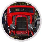 Red Classic Hotrod Round Beach Towel