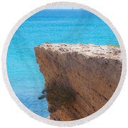 Red Cliff And Regatta In The Blue Round Beach Towel