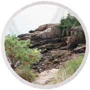 Red Cliffs Of Acadia  Round Beach Towel