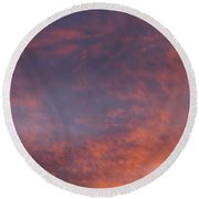 Red Clouds At Sunset Round Beach Towel