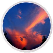 Red Clouds In The Evening Round Beach Towel