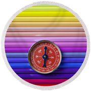 Red Compass On Rolls Of Colored Pencils Round Beach Towel