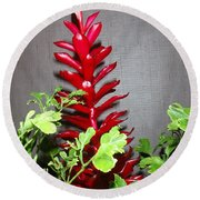 Red Cone Ginger - No 1 Round Beach Towel