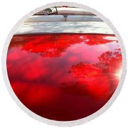 Red Convertible Round Beach Towel