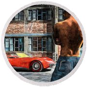 Red Corvette Round Beach Towel by Bob Orsillo