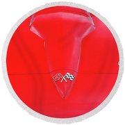 Red Corvette Round Beach Towel