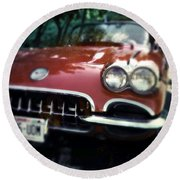 Red Corvette With Trees Round Beach Towel