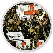 Red Cross Poster, 1915 Round Beach Towel