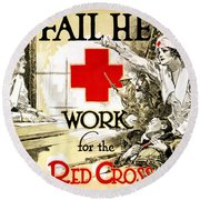 Red Cross Poster, C1918 Round Beach Towel