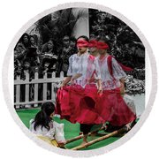 Red Dancing Round Beach Towel