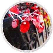 Red Decorations Round Beach Towel