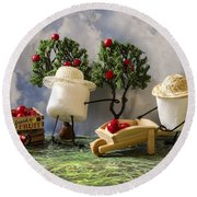 Red Delicious Round Beach Towel