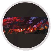 Red Demon With Pearls Round Beach Towel