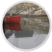 Red Dinghy  Round Beach Towel