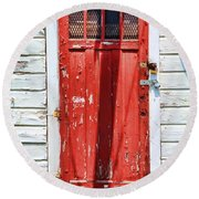 Red Door By Diana Sainz Round Beach Towel by Diana Sainz