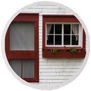 Red Door Red Window Round Beach Towel