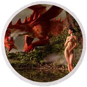 Red Dragon And Nude Bather Round Beach Towel