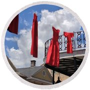 Red Dress Lineup  Round Beach Towel