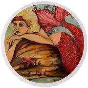 Red Dust Mermaid Round Beach Towel