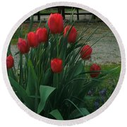 Red Dynasty Red Tulips Round Beach Towel